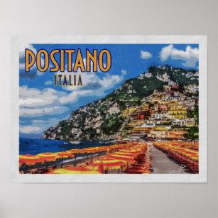 Affiches Vintage voyage de Positano Italie Amalfi
