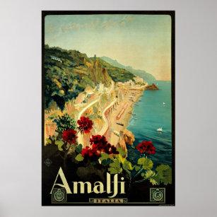 Affiches Vintage voyage, plage italienne de côte d'Amalfi