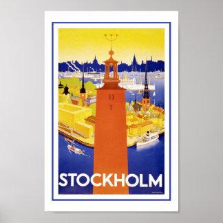 Affiches vintages de voyage de Stockholm Suède l'E