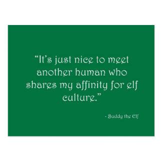 Affinité pour la carte postale de culture d'Elf