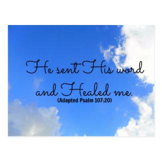Affirmation curative chrétienne de psaume il a carte postale