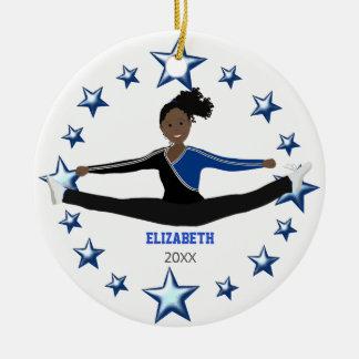 Afro-américain d'acclamation de danse bleu et noir ornement rond en céramique