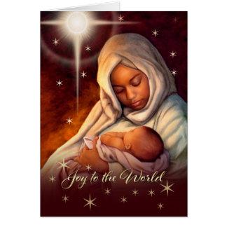 Afro-américain Madonna et cartes de Noël d'enfant