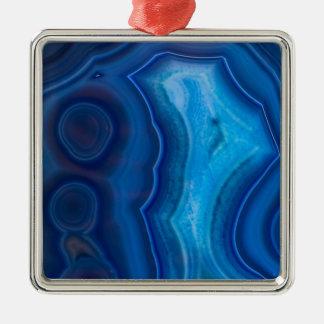 Agate bleue profonde de lagune ornement carré argenté