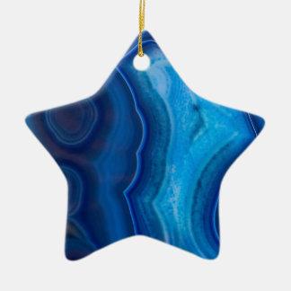 Agate bleue profonde de lagune ornement étoile en céramique