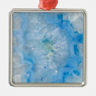 Agate de cristal de bleus layette ornement carré argenté