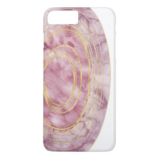 Agate pourpre d'aquarelle avec le coque iphone de coque iPhone 7 plus
