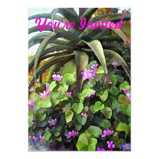 Agave et violettes africaines faire-part personnalisables