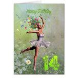 Âge 14, carte d'anniversaire féerique de fleur