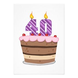 Âge 40 sur le gâteau d anniversaire invitations personnalisées