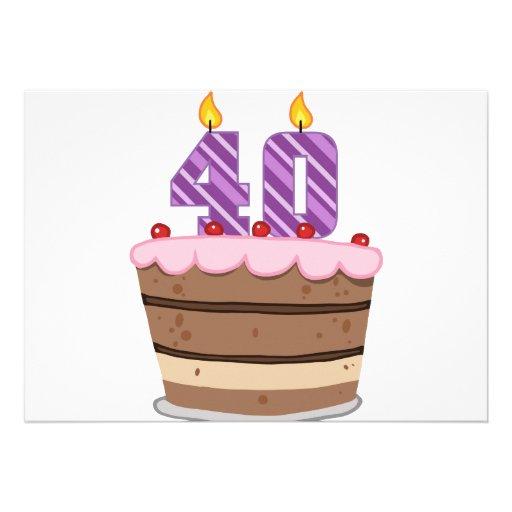 Âge 40 sur le gâteau d'anniversaire faire-parts