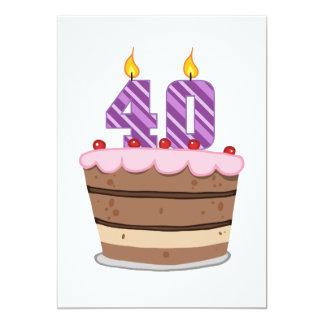 Âge 40 sur le gâteau d'anniversaire invitations personnalisées