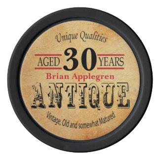 Âgé, antiquité, mûri, et anniversaire de cru 30ème rouleau de jetons de poker