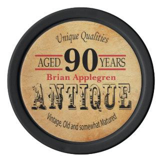 Âgé, antiquité, mûri, et anniversaire de cru rouleau de jetons de poker