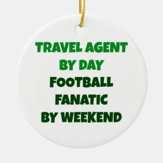 Agent de voyage par le fanatique du football de ornement rond en céramique