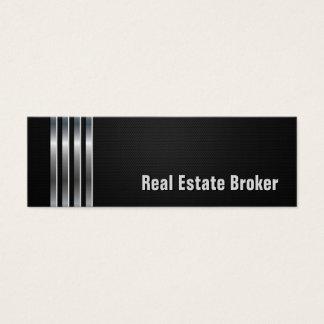 Agent immobilier - rayures argentées noires mini carte de visite