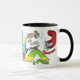 Agilité de chien de bande dessinée mug
