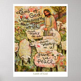 """Agneau affiche de Dieu de 18x24"""" Posters"""