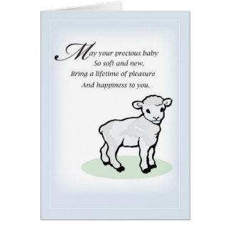 Agneau de bébé de 3833 félicitations carte de vœux