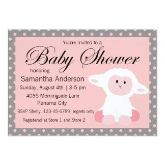 Agneau de bébé et baby shower mignons de pois carton d'invitation  12,7 cm x 17,78 cm