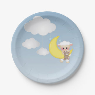 Agneau, lune et nuages de bébé assiettes en papier
