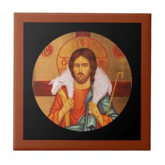 Agneau perdu de transport de Jésus sur des épaules Petit Carreau Carré
