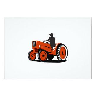 Agriculteur conduisant le tracteur vintage rétro carton d'invitation  12,7 cm x 17,78 cm