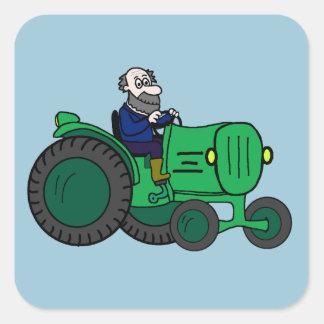 Agriculteur et tracteur sticker carré