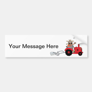 Agriculteur heureux à l'aide d'un tracteur autocollant pour voiture