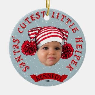 Aide la plus mignonne de Santa la petite Ornement Rond En Céramique
