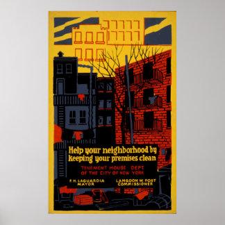 Aidez votre affiche 1936 de WPA de cru de Poster