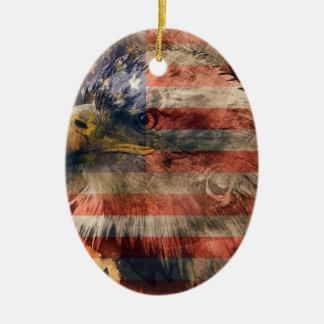 Aigle américain ornement ovale en céramique