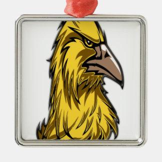 aigle head3 ornement carré argenté