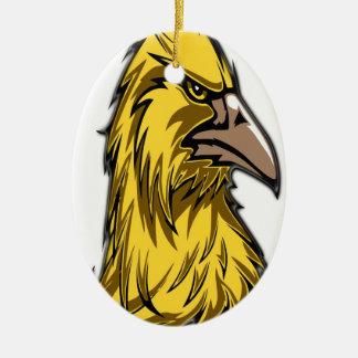 aigle head3 ornement ovale en céramique