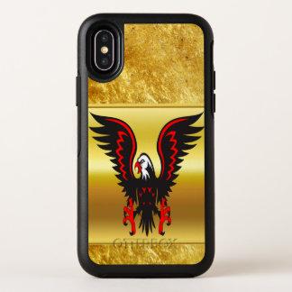 Aigle noir et rouge de présentation horizontale