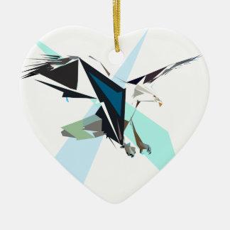 aigle ornement cœur en céramique