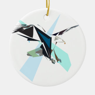 aigle ornement rond en céramique