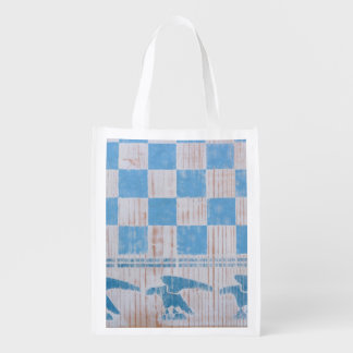 Aigles bleus de damier sacs d'épicerie réutilisables