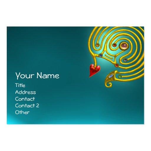 AIGUE-MARINE HYPER de LABYRINTHE, bleu jaune rouge Cartes De Visite Professionnelles