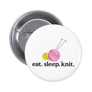 Aiguilles et fil de tricot badge rond 5 cm