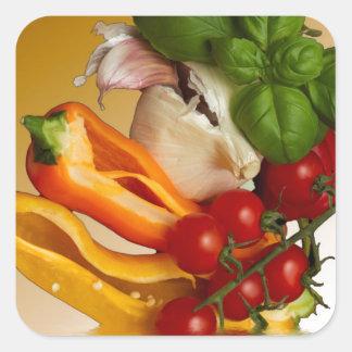 Ail de tomates de Basil de poivrons Sticker Carré