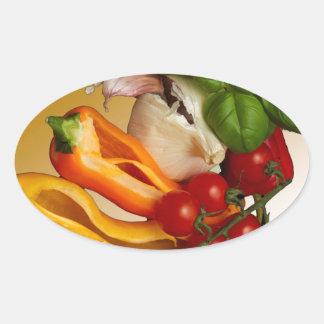 Ail de tomates de Basil de poivrons Sticker Ovale