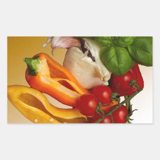 Ail de tomates de Basil de poivrons Sticker Rectangulaire