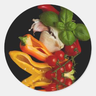 Ail de tomates de Basil de poivrons Sticker Rond