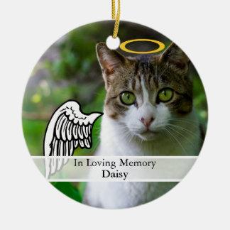 Aile commémorative d'ange d'animal familier et nom ornement rond en céramique