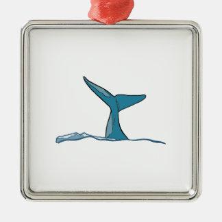 Aileron de poissons de baleine ornement carré argenté