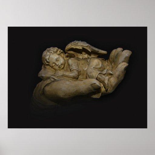 Ailes d'ange de bébé dormant à disposition affiche