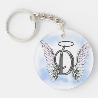 Ailes d'ange et lettre D de monogramme de halo Porte-clé Rond En Acrylique Double Face