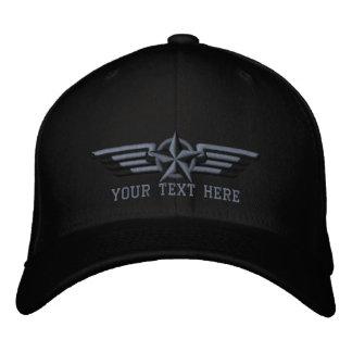 Ailes personnalisées de pilote d'insigne d'étoile casquette brodée