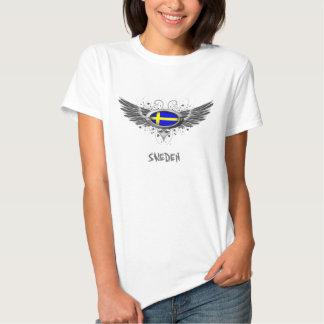 Ailes suédoises de drapeau t-shirts